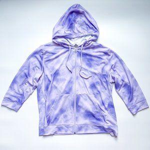 Joe Fresh 3/4 Sleeve Tie-Dye Purple Hoodie